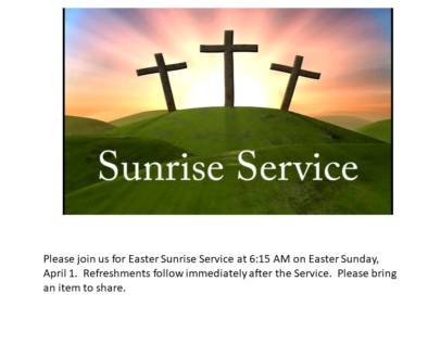 Sunrise Service April 1 2018